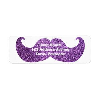 紫色のきらきら光るな髭(模造のなグリッターのグラフィック) ラベル