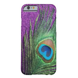紫色のきらびやかな孔雀の羽の静物画 BARELY THERE iPhone 6 ケース