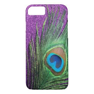 紫色のきらびやかな孔雀の羽の静物画 iPhone 8/7ケース