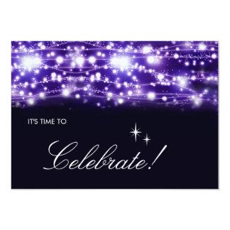 紫色のきらめくな星の招待状 12.7 X 17.8 インビテーションカード