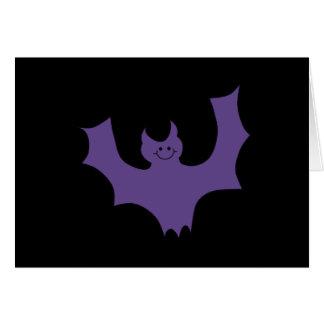 紫色のこうもりの漫画。 黒い背景 カード