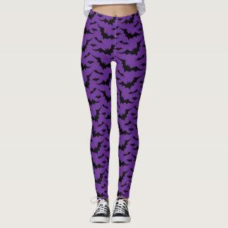 紫色のこうもりパターン レギンス