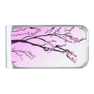 紫色のさくらんぼの花の桜 シルバー マネークリップ