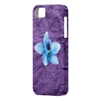 紫色のしわの青の花 iPhone SE/5/5s ケース