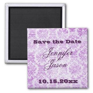 紫色のすみれ色のヴィンテージのダマスク織の結婚式招待状 マグネット