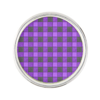 紫色のすみれ色の黒い格子縞の点検のラペルピン ラペルピン