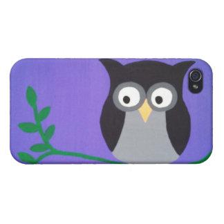 紫色のたそがれのフクロウの箱 iPhone 4/4S カバー