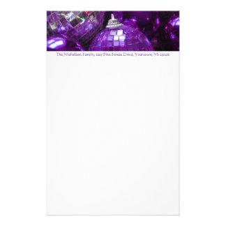 紫色のつまらないもののアドレスヘッダの文房具の文字 便箋