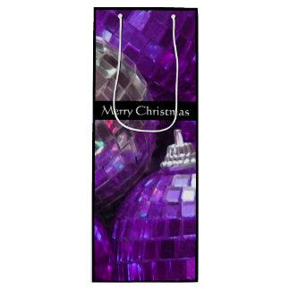 紫色のつまらないもののメリークリスマスのギフトバッグのワインの黒 ワインギフトバッグ