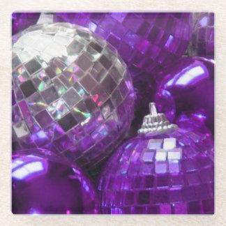 紫色のつまらないものガラスのコースター ガラスコースター