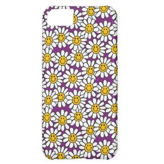 紫色のにこやかなデイジーの花模様 iPhone5Cケース