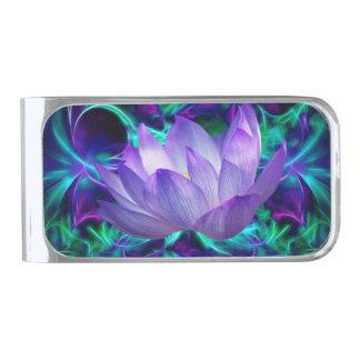 紫色のはすの花および意味 シルバー マネークリップ