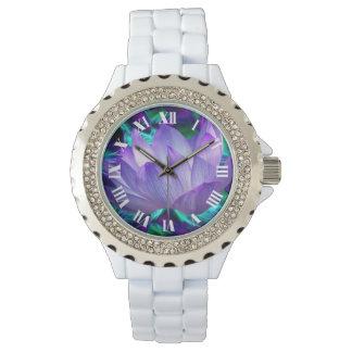 紫色のはすの花および意味 腕時計