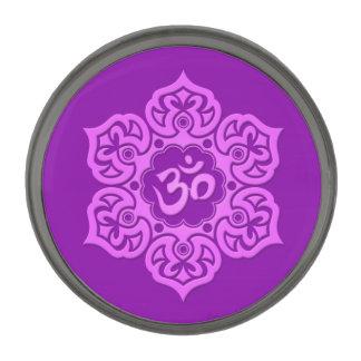 紫色のはすの花Om ガンメタルラペルピン