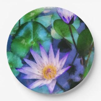紫色のはす水彩画 ペーパープレート