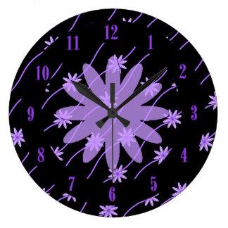 紫色のひな菊の花輪花パターン柱時計 ラージ壁時計