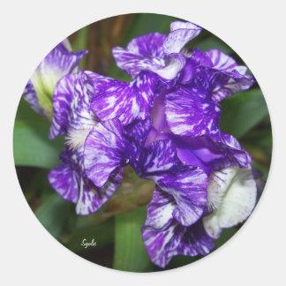 紫色のろうけつ染めのアイリスステッカー ラウンドシール