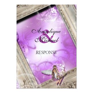 紫色のアイボリーのおとぎ話の結婚式 カード