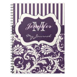 紫色のアイボリーのピンクのストライプのなダマスク織ジャーナルノート ノートブック