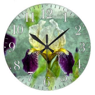 紫色のアイリス印象派の花の絵画の芸術 ラージ壁時計