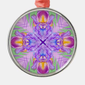 紫色のアイリス庭の曼荼羅のオーナメント メタルオーナメント