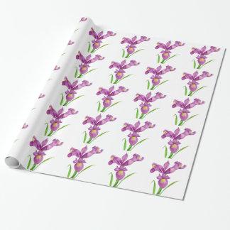 紫色のアイリス植物の花の芸術 ラッピングペーパー