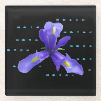 紫色のアイリス花ガラスのコースター ガラスコースター