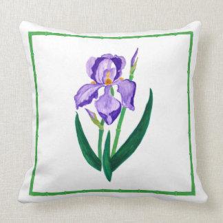 紫色のアイリス(緑のトリム)装飾用クッション クッション