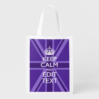 紫色のアクセントは平静およびあなたの文字の英国国旗保ちます エコバッグ