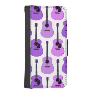 紫色のアコースティックギターパターン iPhoneSE/5/5sウォレットケース