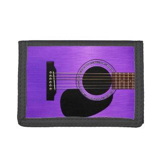 紫色のアコースティックギター ナイロン三つ折りウォレット