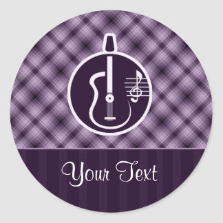 紫色のアコースティックギター ラウンドシール
