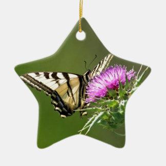 紫色のアザミのアゲハチョウの蝶 陶器製星型オーナメント