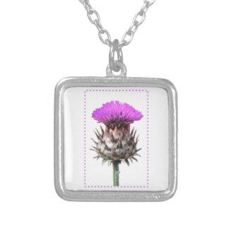 紫色のアザミの写真の芸術-スコットランドの記号 シルバープレートネックレス