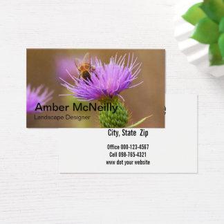 紫色のアザミの水平書式の働き者 名刺