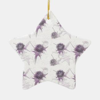 紫色のアザミの自然のデザイン 陶器製星型オーナメント