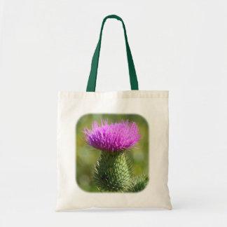 紫色のアザミの花の自然のトートバック トートバッグ