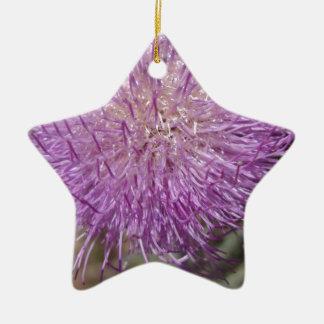 紫色のアザミ 陶器製星型オーナメント