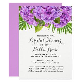 紫色のアジサイのブライダルシャワーの招待 カード