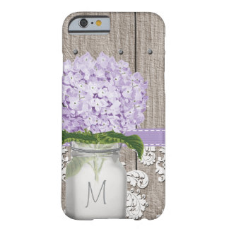 紫色のアジサイのモノグラムのなメーソンジャー BARELY THERE iPhone 6 ケース