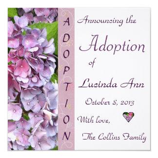 紫色のアジサイの採用の発表 カード