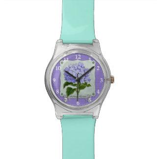 紫色のアジサイの緑書のリボンの正方形の切り出し 腕時計