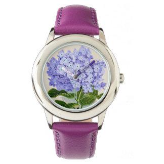 紫色のアジサイの花の腕時計 腕時計