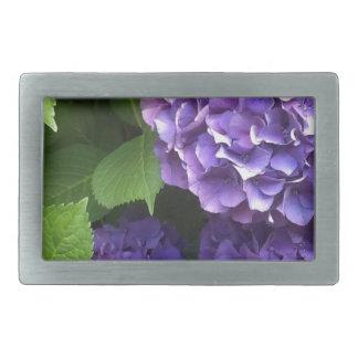 紫色のアジサイ 長方形ベルトバックル