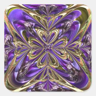 紫色のアネモネの抽象芸術 スクエアシール