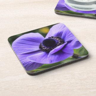 紫色のアネモネの花のコルクのコースター コースター