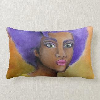 紫色のアフリカの黒人女性 ランバークッション