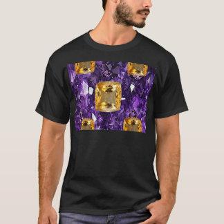 紫色のアメジスト及び金トパーズの宝石の水晶 Tシャツ