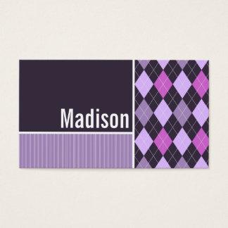 紫色のアーガイル柄のなパターン 名刺