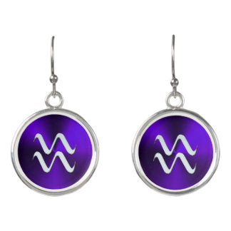 紫色のイヤリングの銀製の(占星術の)十二宮図の印のアクエリアス イヤリング